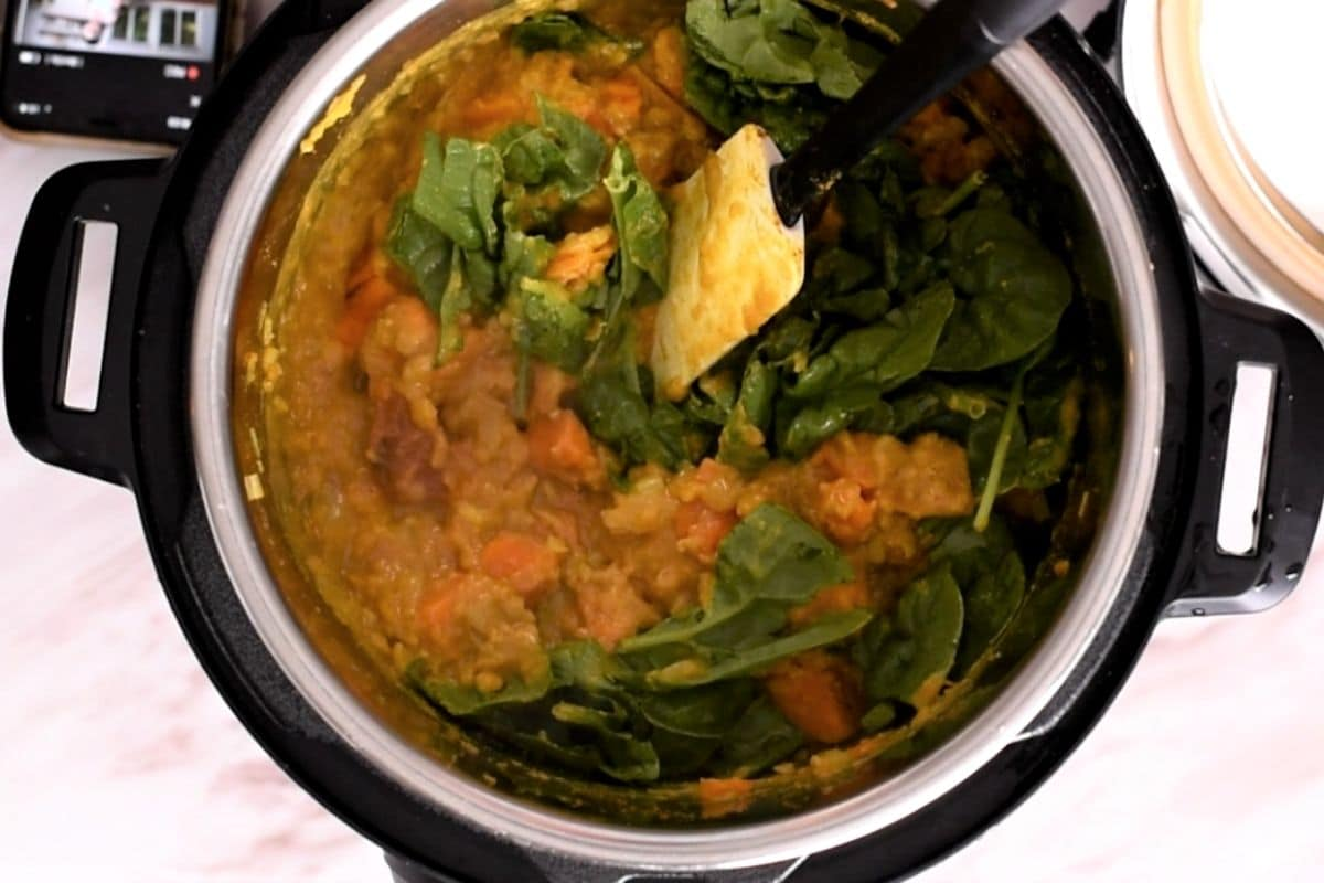 Overhead view of Instant Pot with curry and spinach