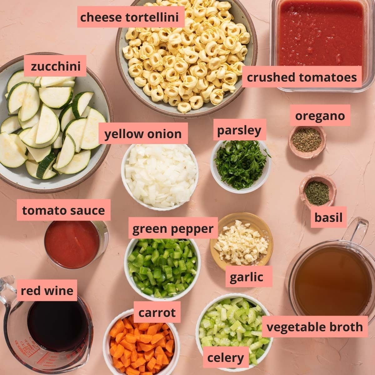 Labeled ingredients used to make tortellini soup
