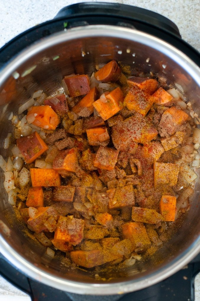 Sweet potatoes in Instant pot coated with spices