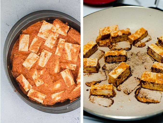 Left image: Cubed tofu being marinated in jerk seasoning. Right image: Jerk tofu being sauteed in a large skillet.