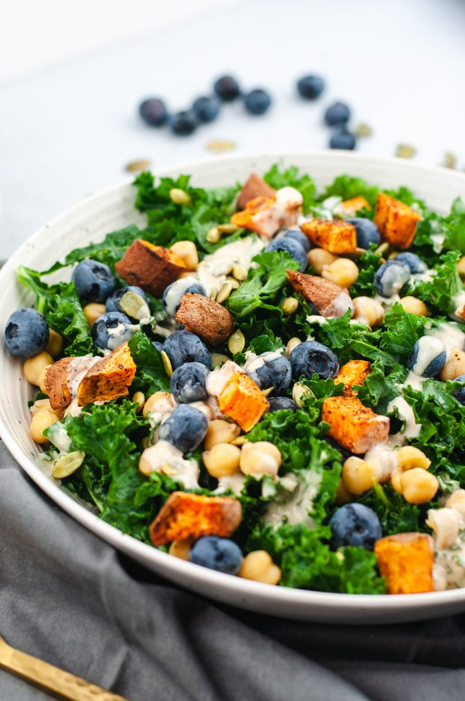 Side view of kale salad