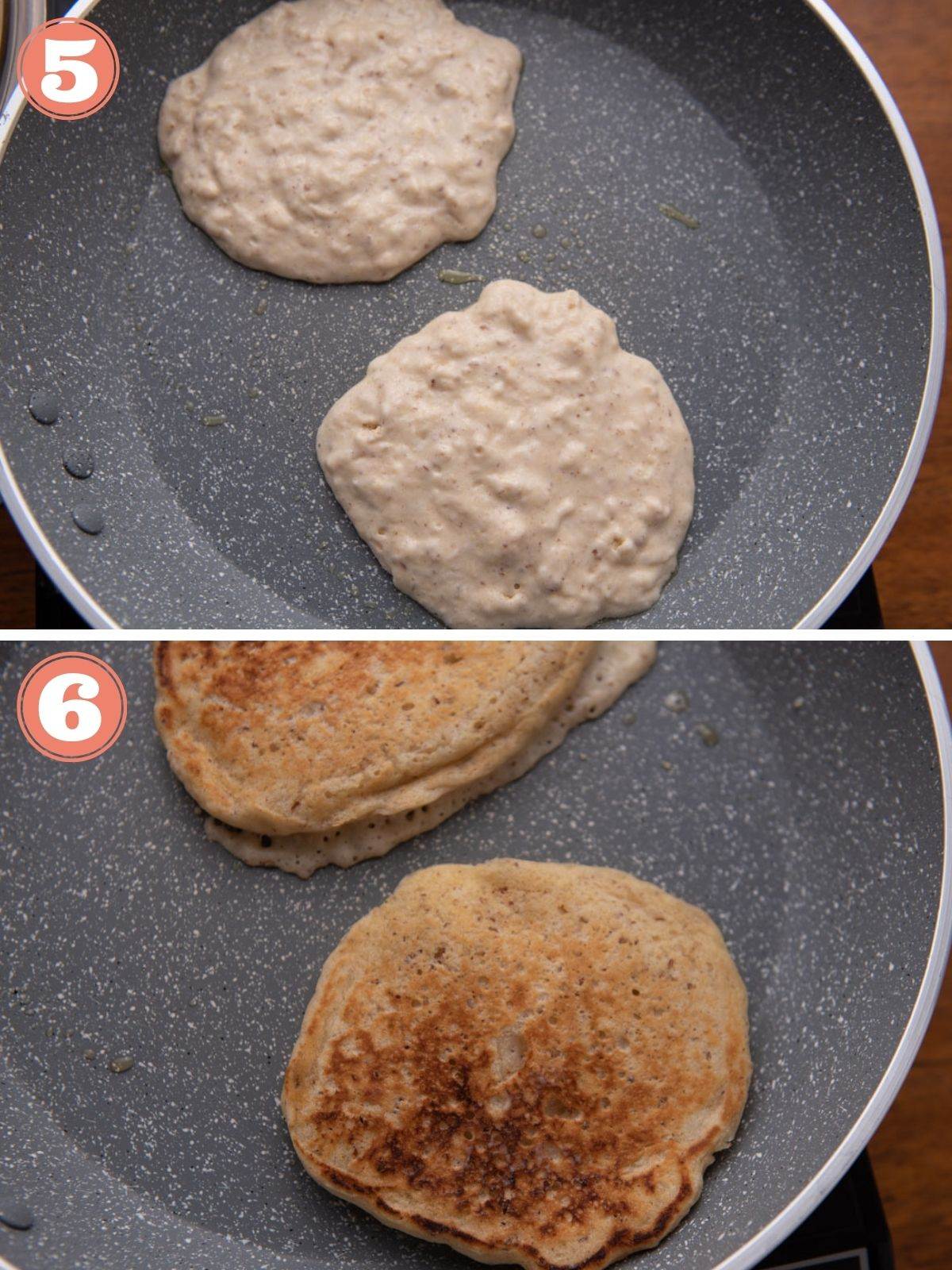 Steps 5 and 6 to make vegan panakes