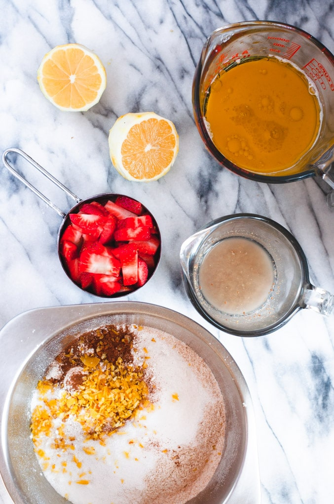 Ingredients used to make strawberry muffins: