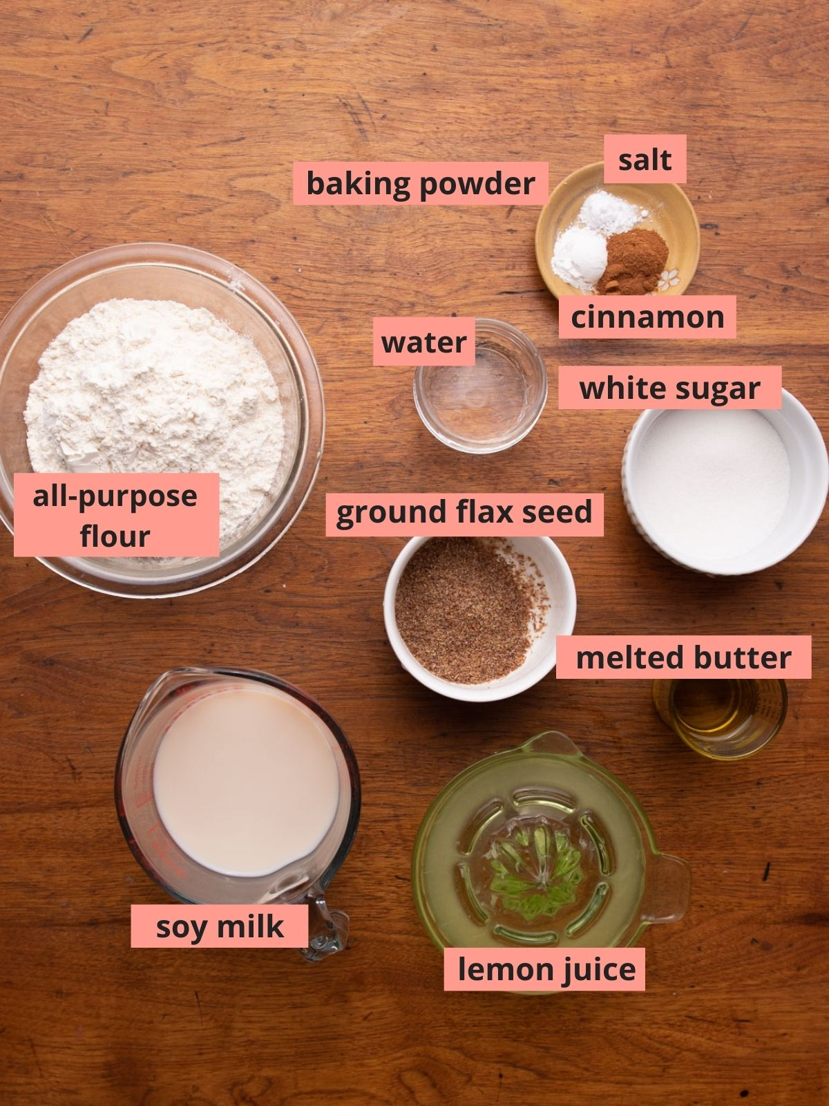 Labeled ingredients used to make pancakes
