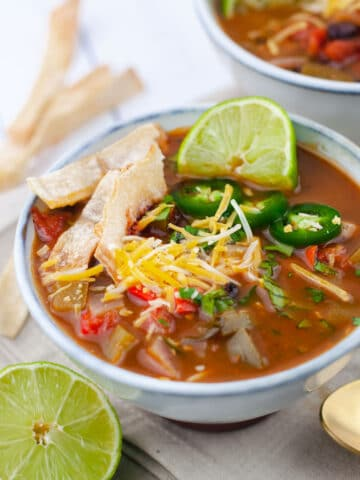 Close up of tortilla soup