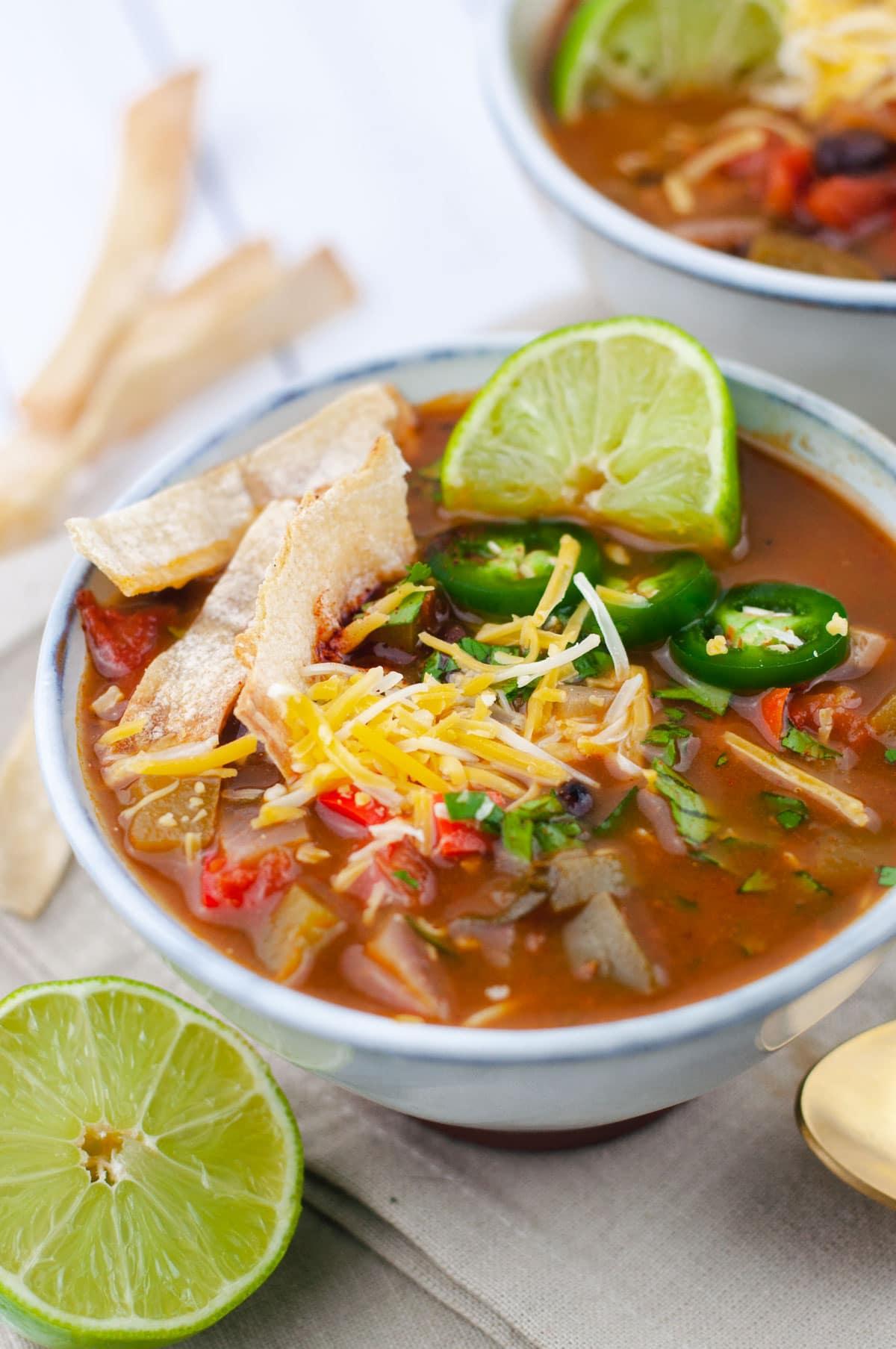 Close up of tortilla soup