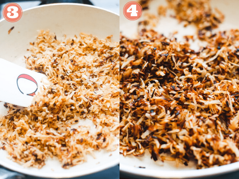 Steps 3 and 4 to make bacon bits