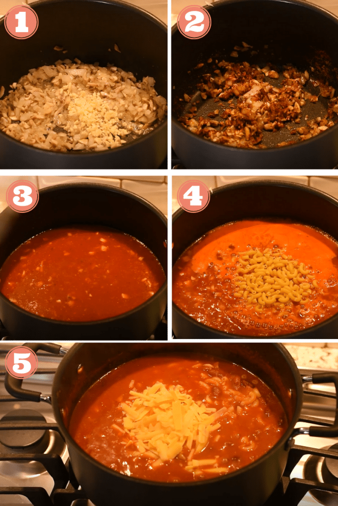 Diagram showing steps one through five to make chili mac