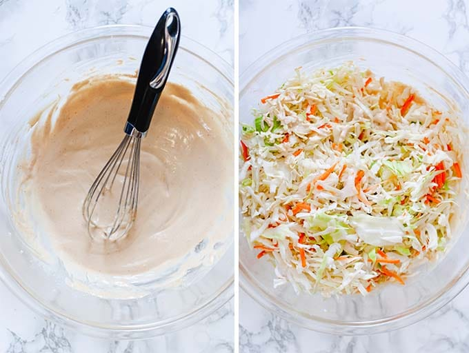 Process shot to make coleslaw. Left picture shows tahini coleslaw dressing with a whisk in a large glass bowl. Second photo shows coleslaw mix in the same glass bowl.