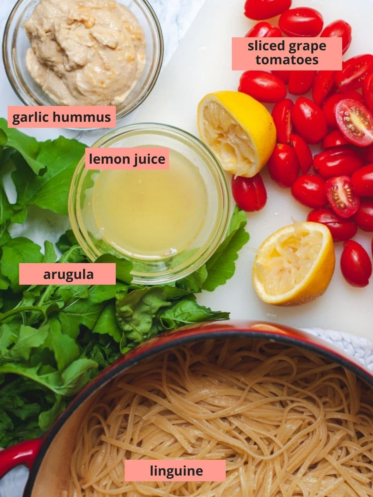 Labeled ingredients used to make hummus pasta