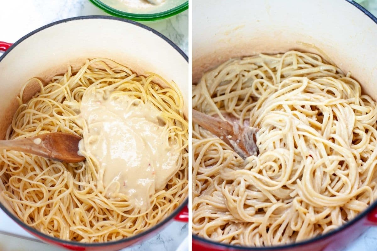 Pasta sauce before and after being stirred into the linguine