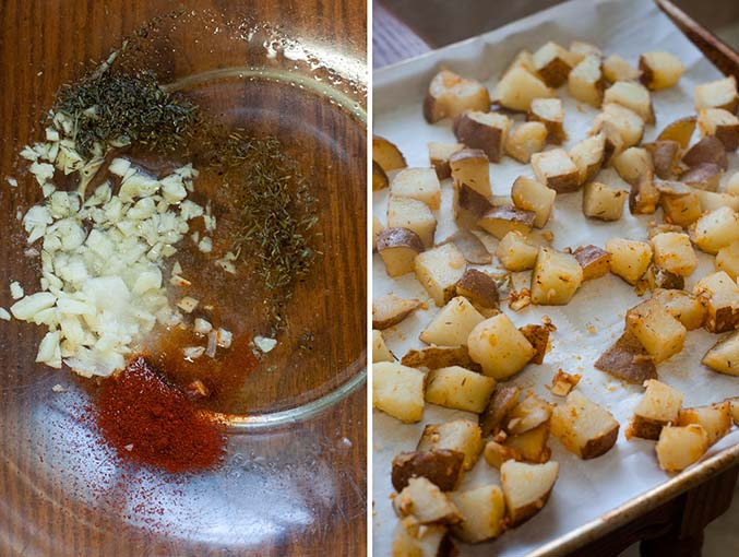 Left image: bowl with garlic, thyme, paprika, and salt. Right image: roasted potatoes on a sheet pan before going in the oven.