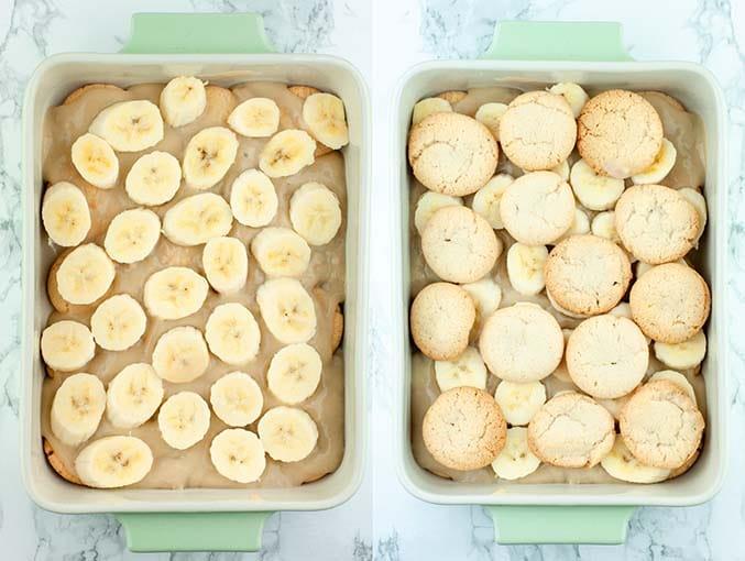 Left image shows sliced bananas layered on vanilla pudding. Right image shows vanilla wafers layered on bananas