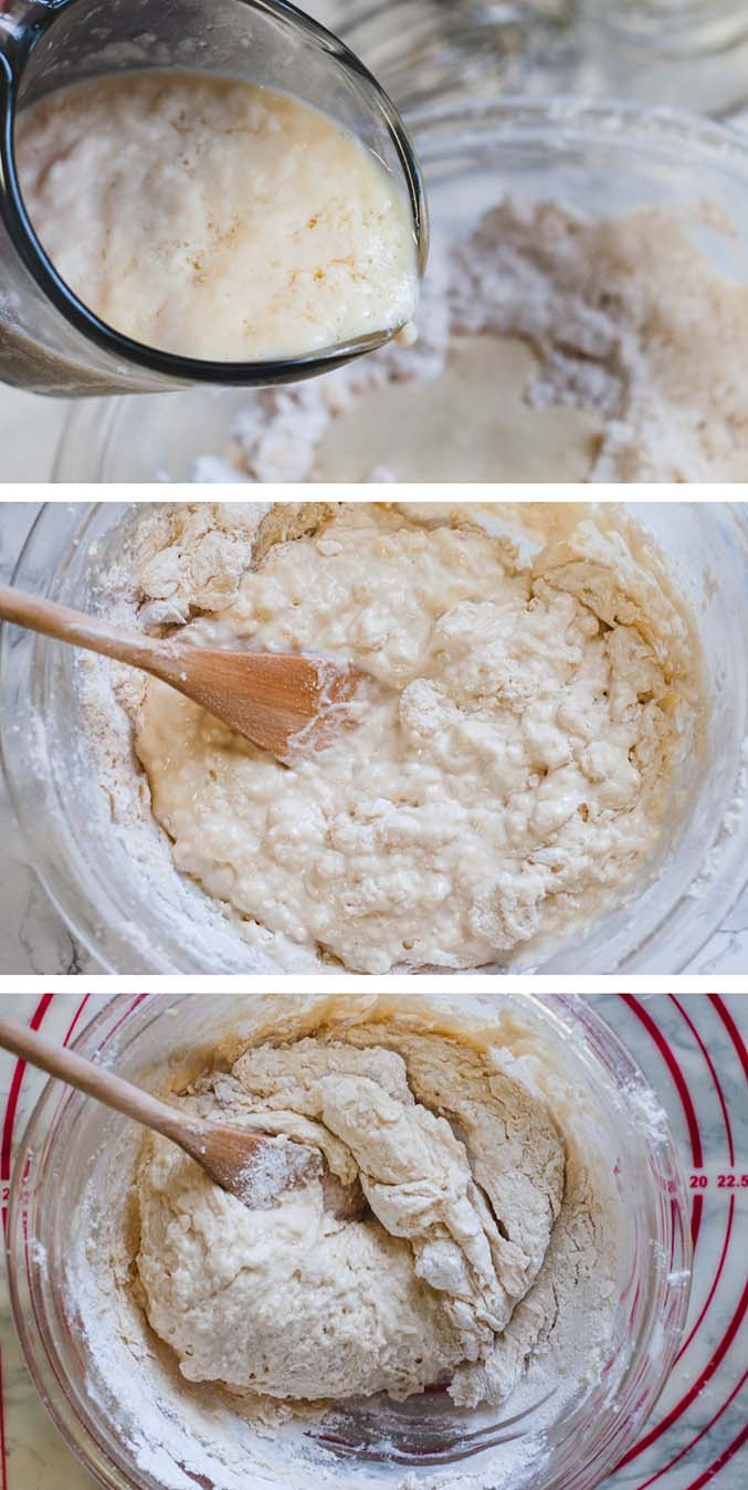 Three photos showing steps to make vegan biscuits. The first shows buttermilk being poured in a glass. The second and third show the biscuit dough being mixed with a wooden spoon until smooth.