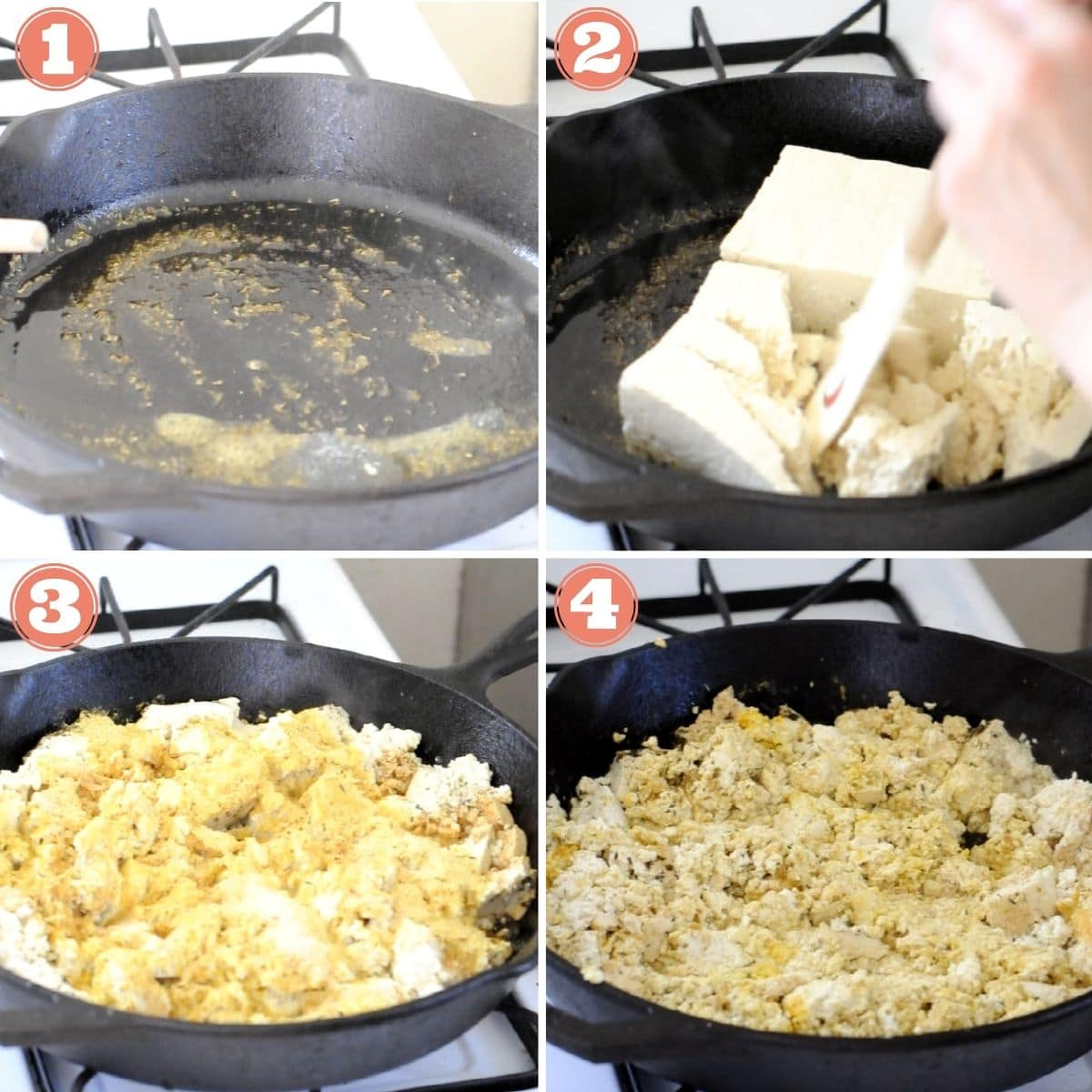 Steps 1 through 4 to make a tofu scramble