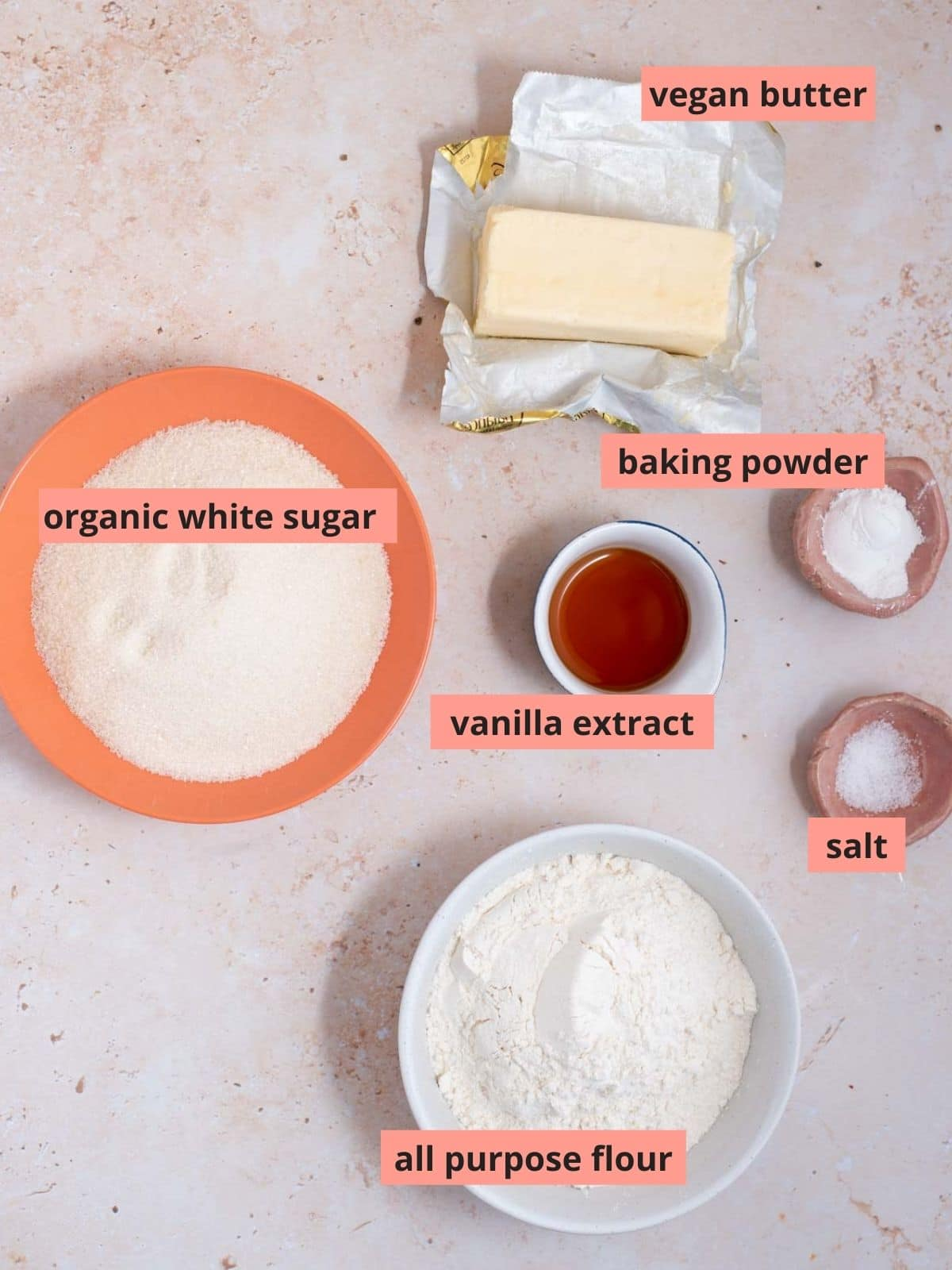 Labeled ingredients to make vanilla wafers