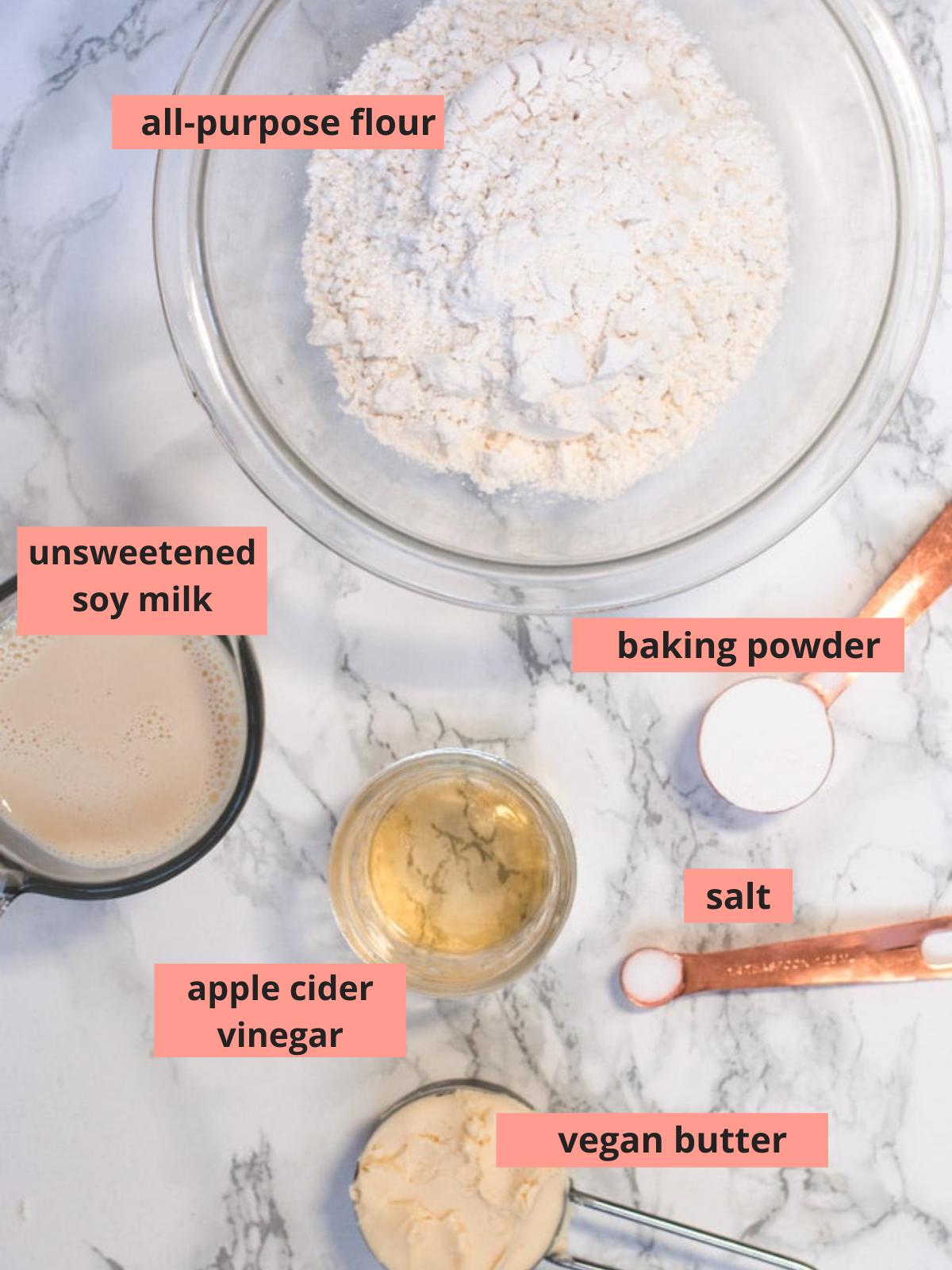 Labeled ingredients used to make vegan biscuits