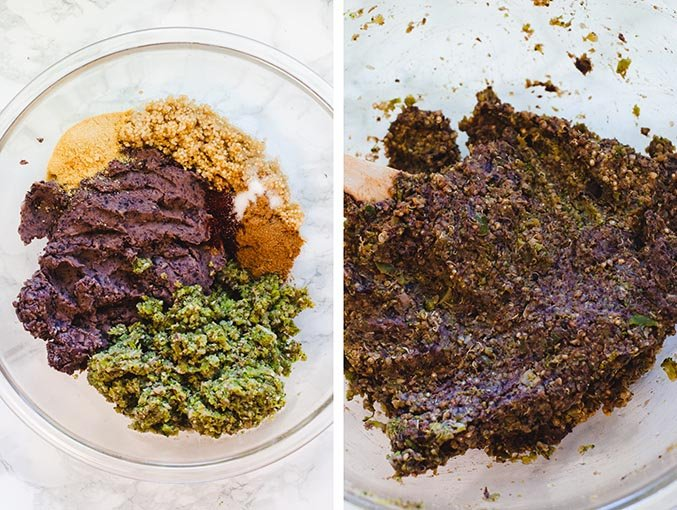 Left image shows ingredients used to make veggie burgers in a large glass mixing bowl. Right image shows ingredients mixed together.