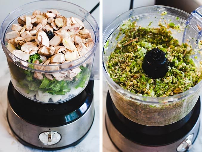 Left image shows roughly chopped vegetables (mushrooms, broccoli, onion, pepper) in a food processor. Right image shows pureed veggies in food processor.