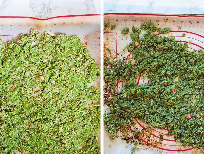 Left image shows raw pureed vegetables on a silicon baking mat. Right image shows the pureed vegetables after roasting.