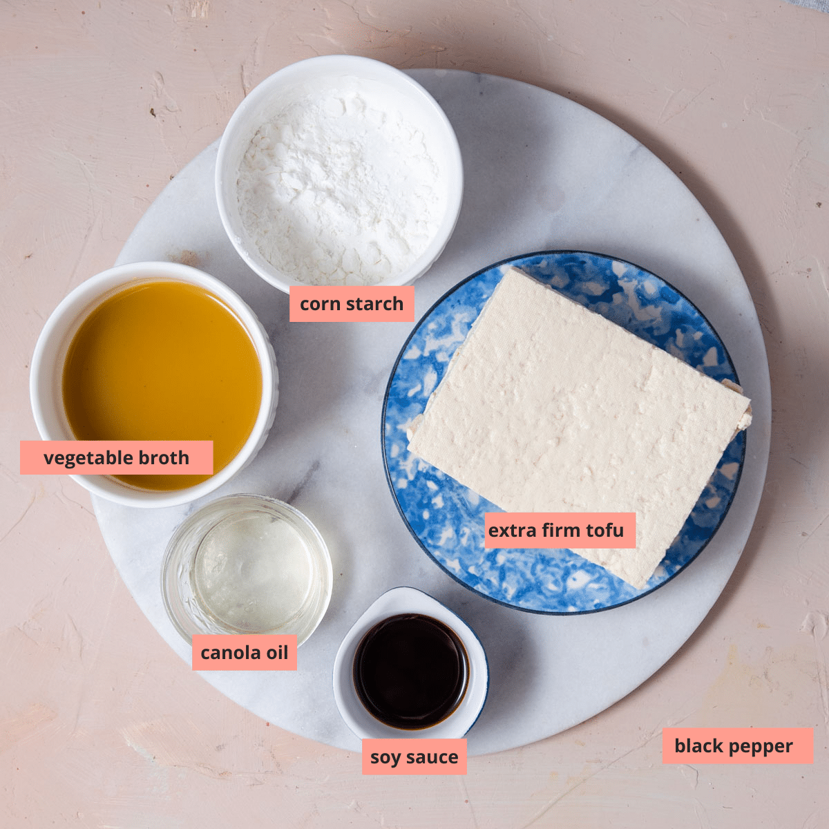 Labeled ingredients to make baked tofu