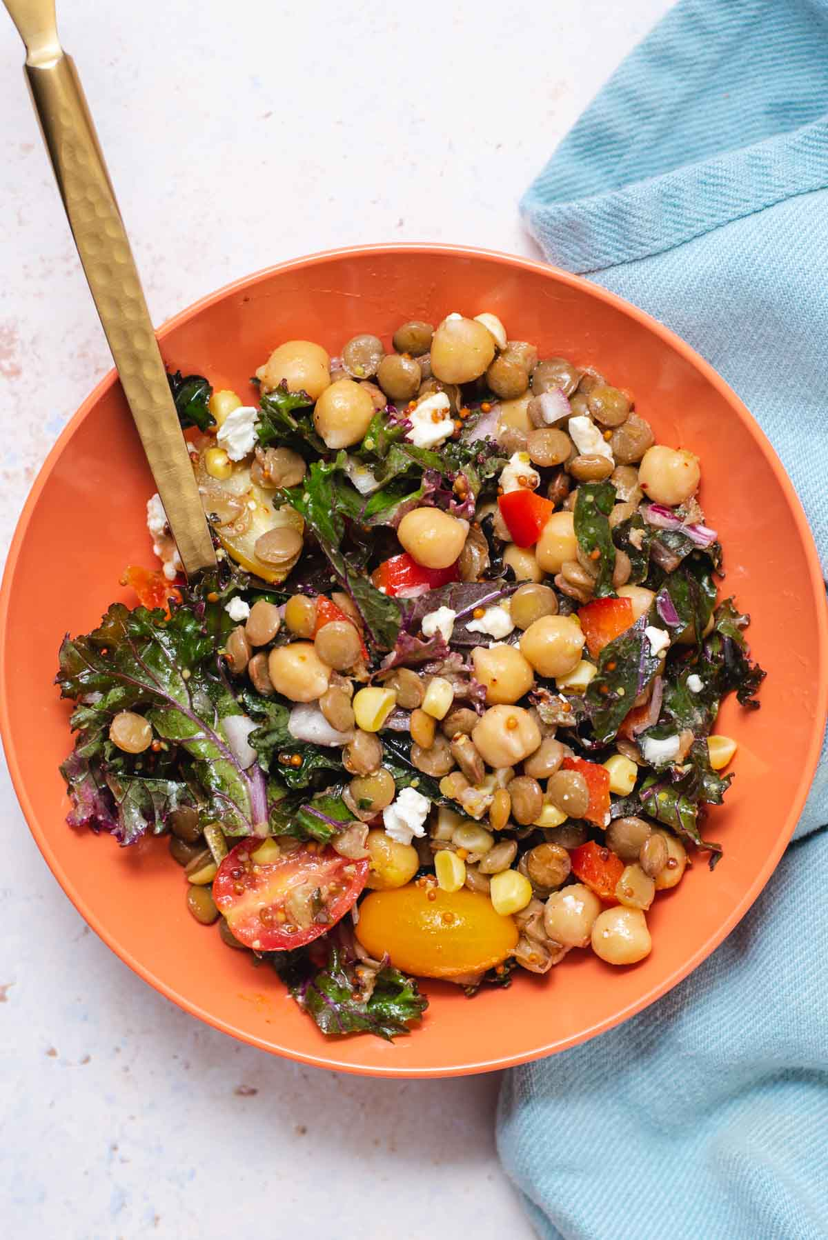 Pink bowl filled with lentil salad and a gold folk on a blue cloth
