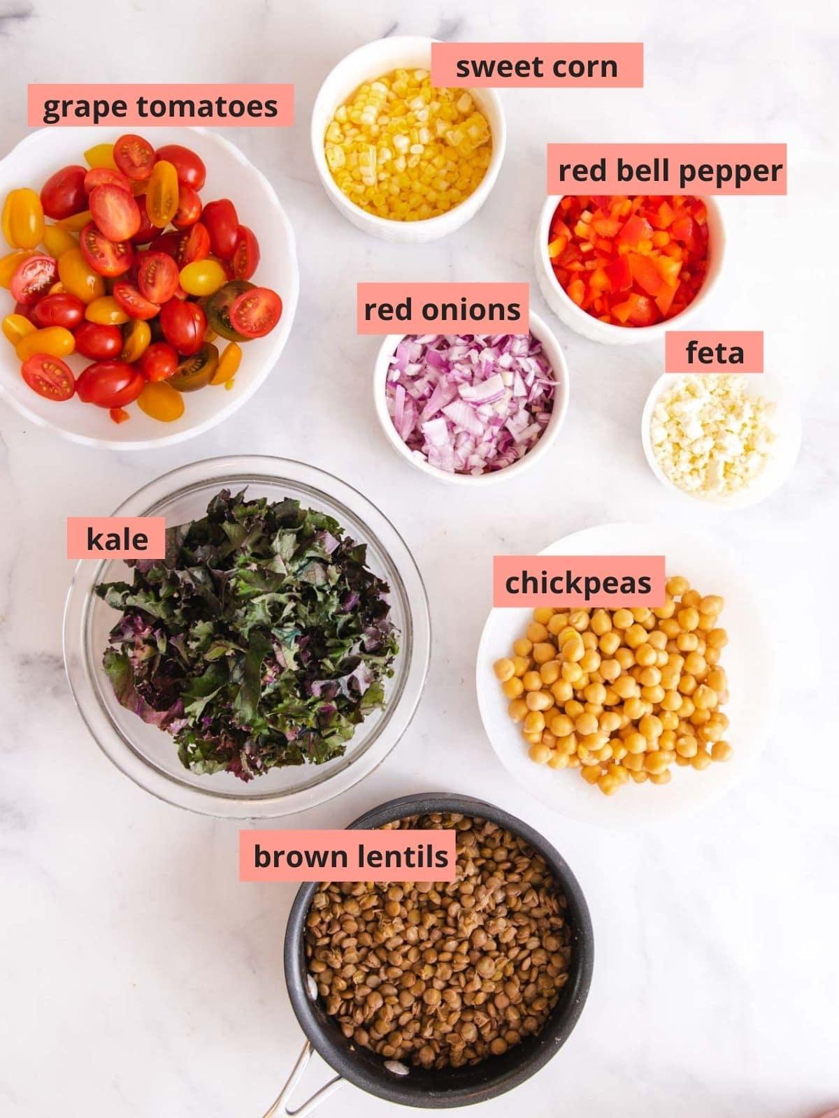 Labeled ingredients used to make lentil salad