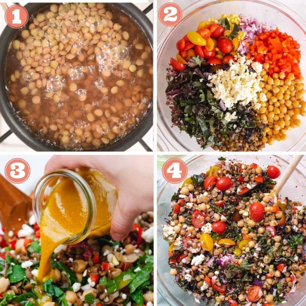 Step one through four to make lentil salad