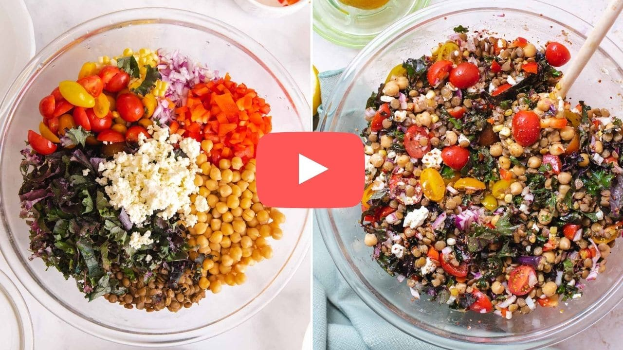 Two images of lentil salad with a YouTube play button on it