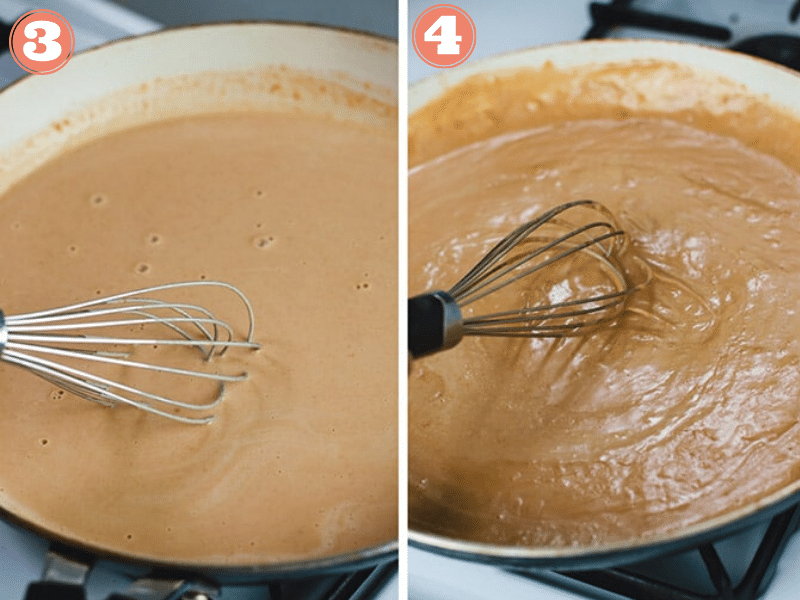 Steps three and four to make peanut tofu sauce