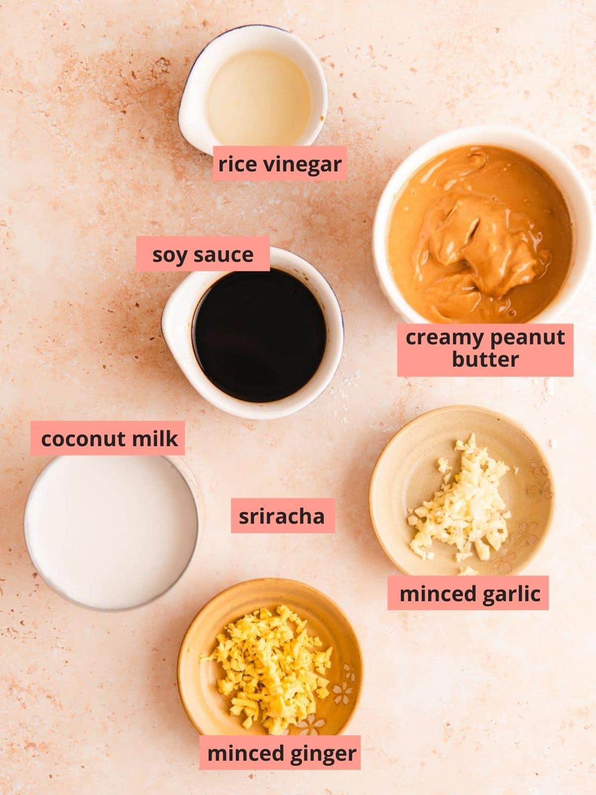 Labeled ingredients used to make peanut tofu