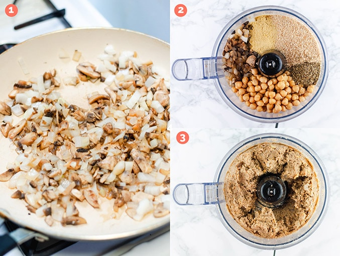 Left image: Mushrooms and onions sauteing in a skillet pan. Right images show chickpeas, seasonings, and sauteed mushrooms and onions in a food processor. The bottom image shows blended vegan meatball ingredients.