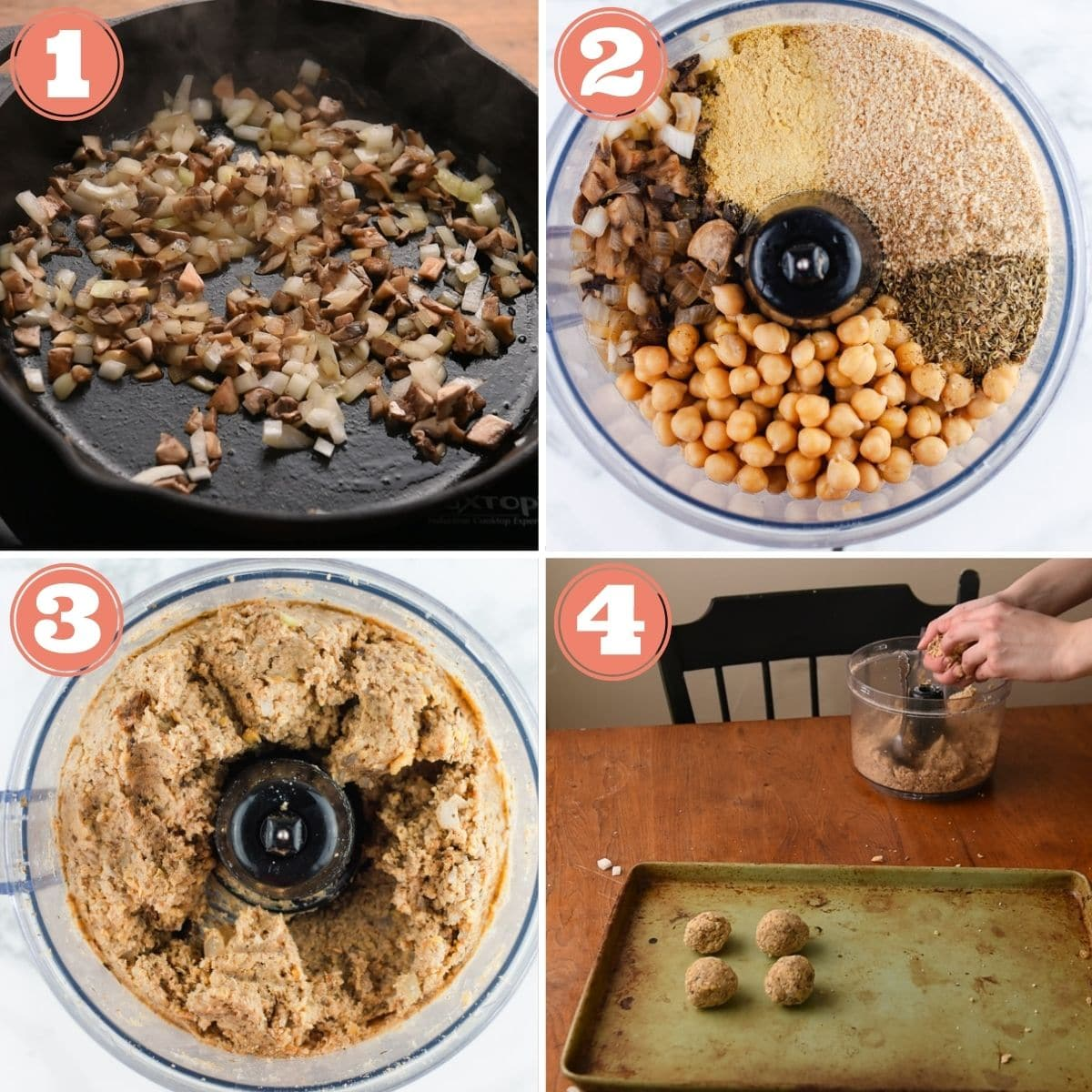 Steps 1 through 4 to make vegan meatballs