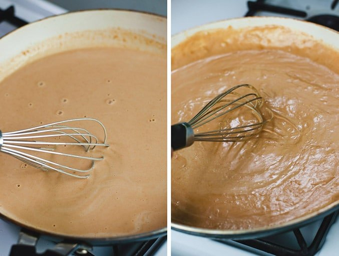 Left image shows thin, light brown sauce in a pan. Right image shows thickened sauce being whisked.