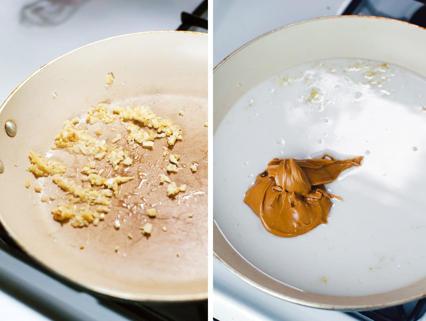 Left image shows ginger and garlic in a large frying pan. right image shows frying pan coated in white coconut milk with a scoop of peanut butter in the center.