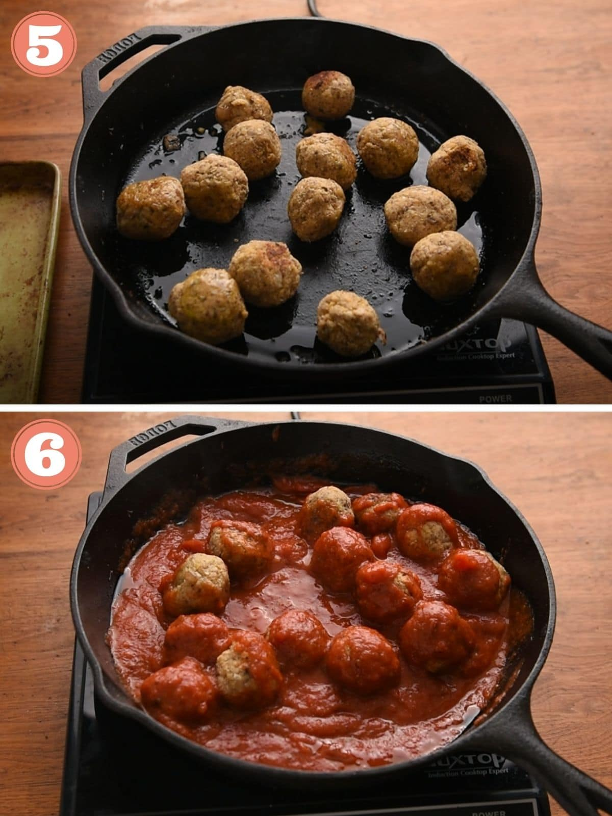 Steps 5 and 6 to pan fry meatballs