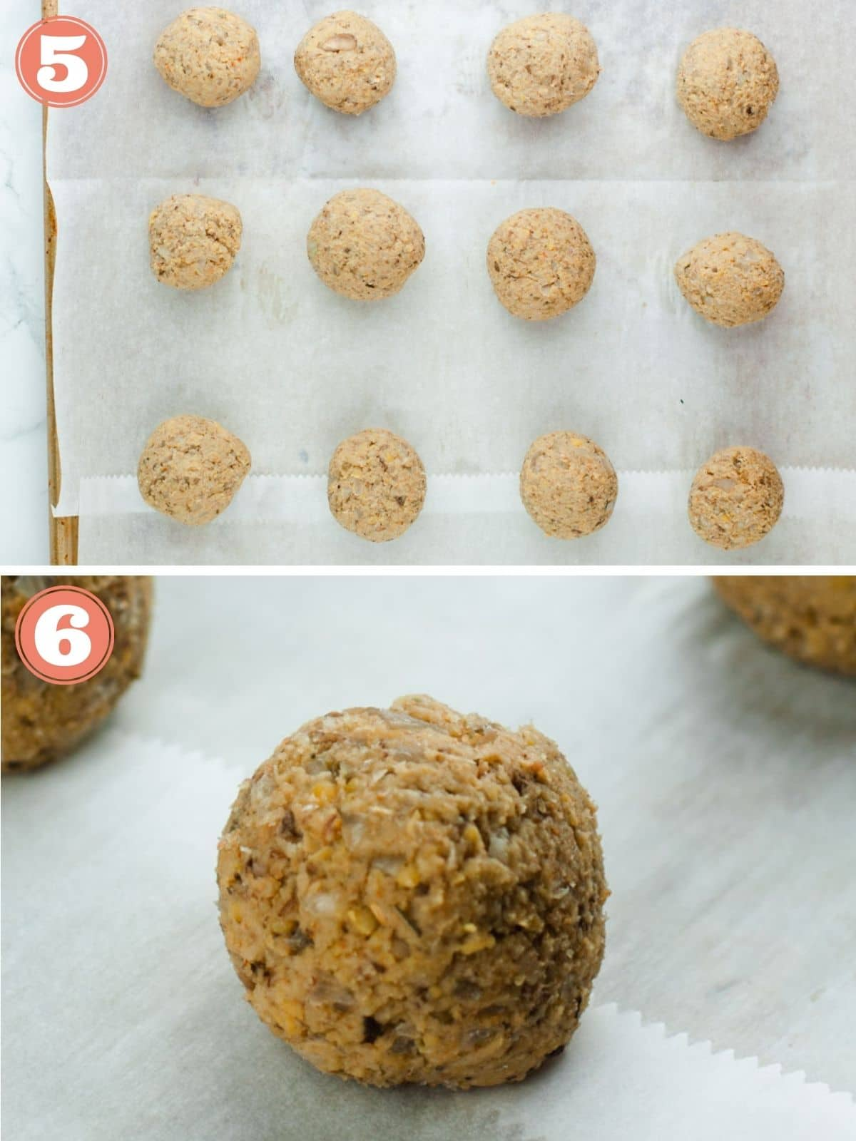 Steps 5 and 6 to bake meatballs