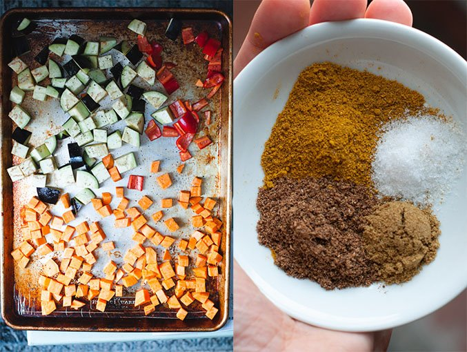 Left image shows sliced vegetables on a sheet pan. Right image shows spices used in curry sauce.