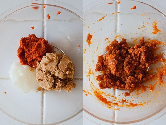 Left image shows pumpkin, brown sugar, and coconut oil in a glass mixing bowl. Right image shows wet ingredients mixed together to form an orange dough.