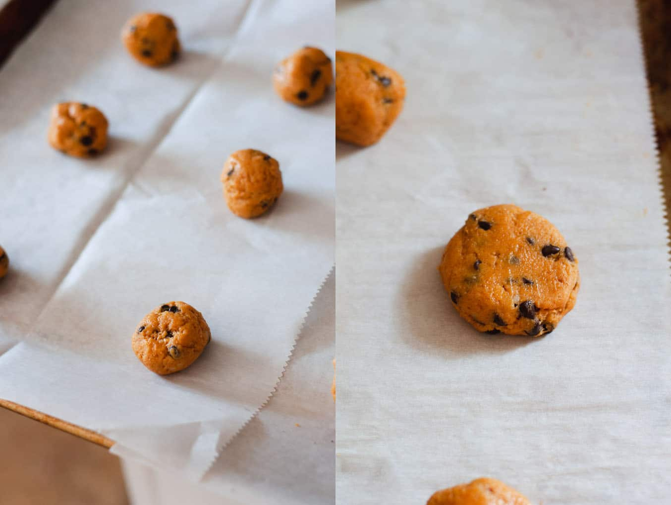 Left image shows balls of orange pumpkin cookie dough on parchment paper. Right image shows flattened cookie.