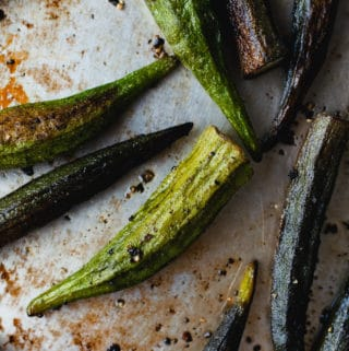 Crispy roasted okra on a sheet pan.