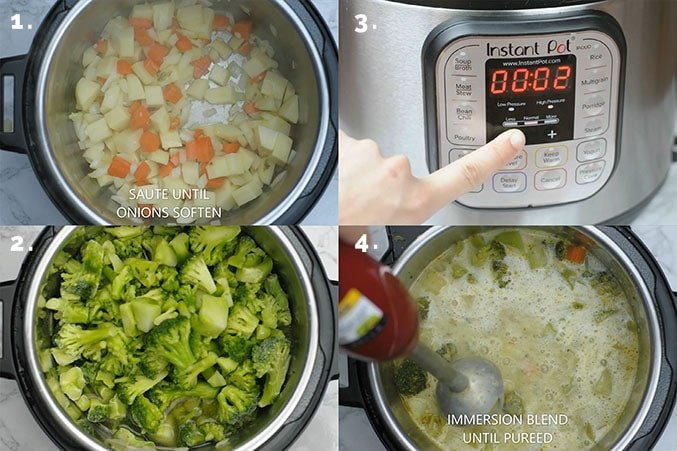Four steps showing how to make vegan broccoli soup