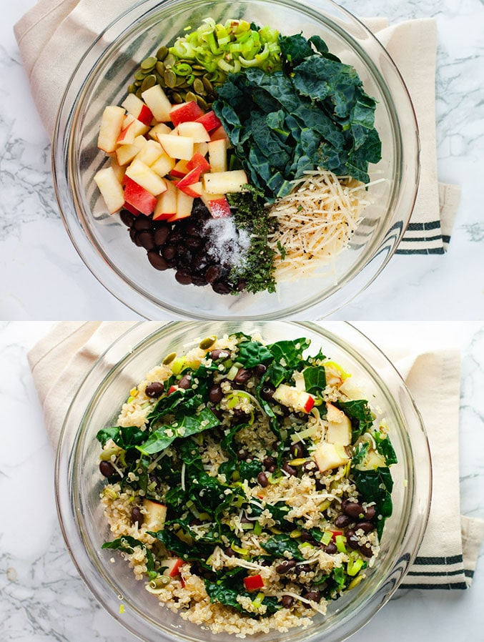 Top image shows ingredients used to make vegetarian stuffed acorn squash. Bottom image shows ingredients mixed together in a glass bowl.