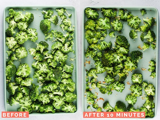 "Left image shows broccoli florets on a light blue sheet pan with text ""before"". Right image shows broccoli florets on sheet pan with text ""after 10 minutes""."