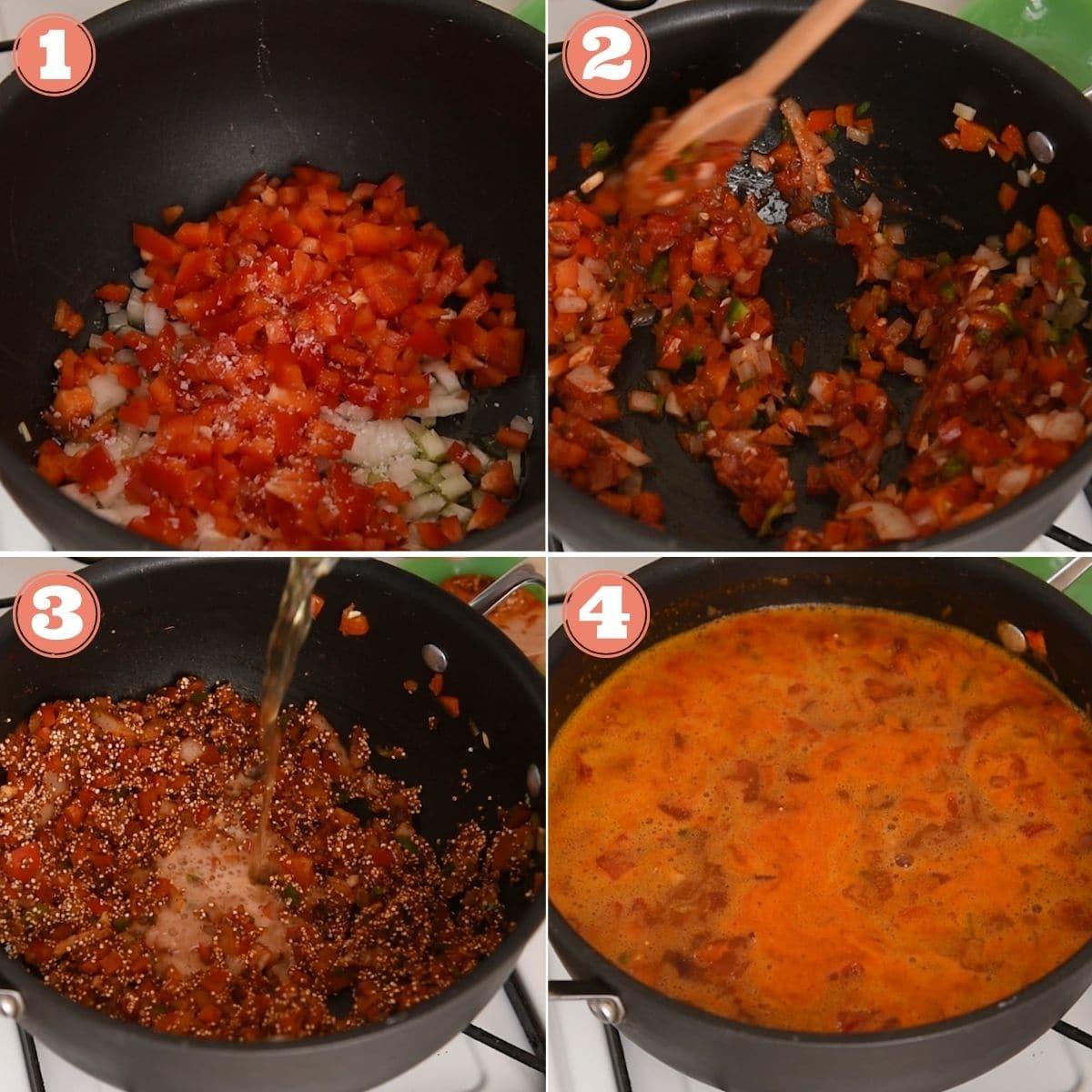 Steps 1 through 4 to make quinoa chili