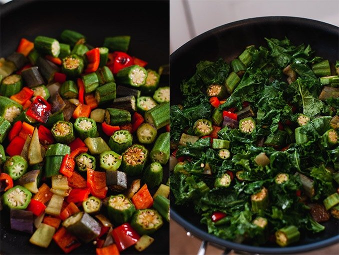 Okra, peppers and kale in a large skillet.
