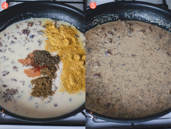 Left image shows seasonings sprinkle on gravy. Right image shows vegan sausage gravy cooking in pan.