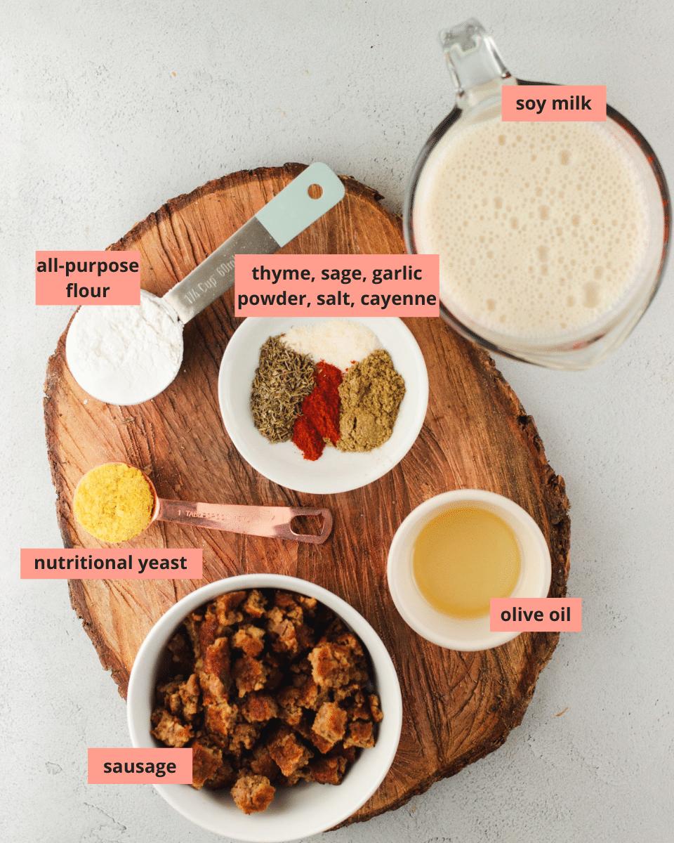 Labeled ingredients to make sausage gravy