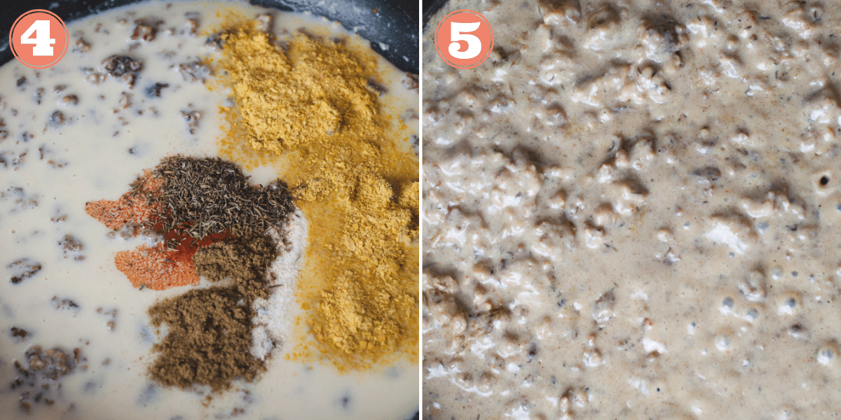 Step 4 and 5 showing how to make gravy