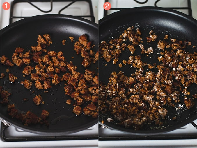 Left image shows cooked crumbled vegan sausage. Right image shows flour mixed with crumbled sausage.